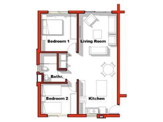 2 Bed 1 Bath Patio T2